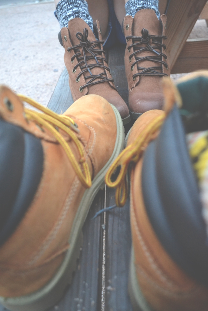 Both boots on wood