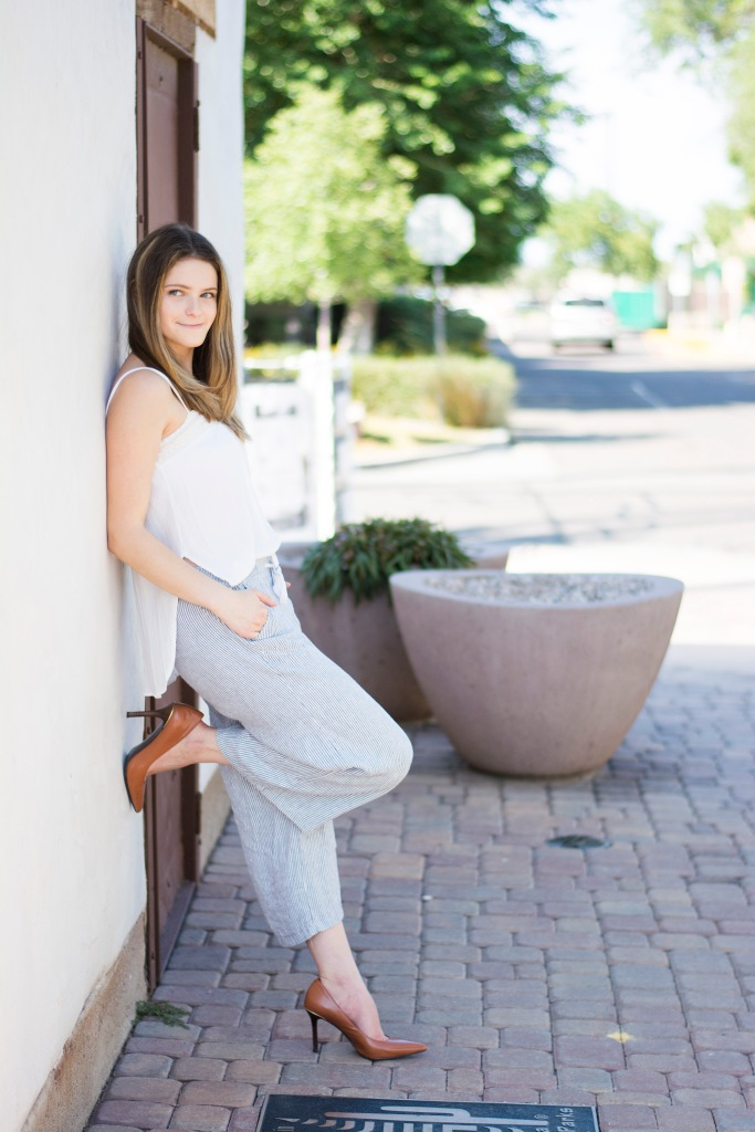 Dash of Daisy Blog Taylor Seely Wearing Culottes and Ralph Lauren Pumps for Fall Fashion in Hot Arizona