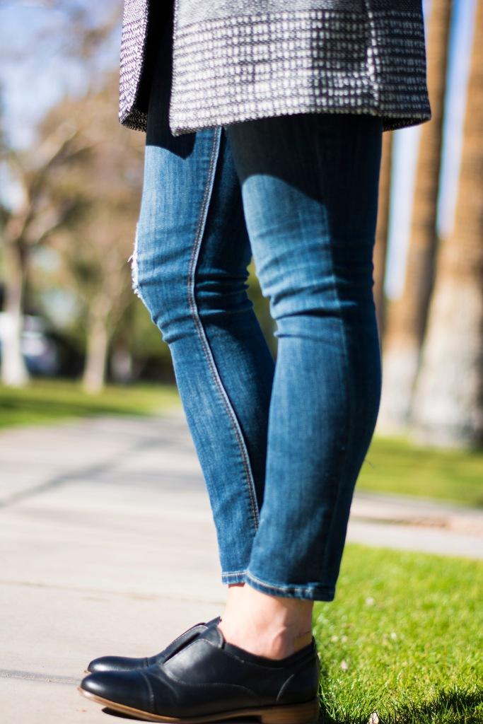 Lower half HM Coat, Express Jeans, Steve Madden Loafers