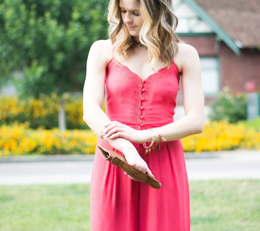 Taylor Seely Dash of Daisy Blog Free People Coral Jumpsuit Cleobella Clutch Coachella Style