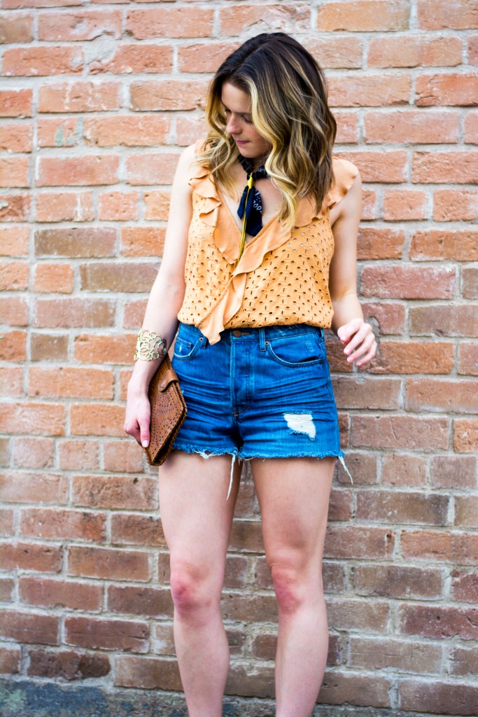 Taylor Seely Dash of Daisy Blog Free People Tank Top and Bandana Hankerchief with Cleobella Clutch
